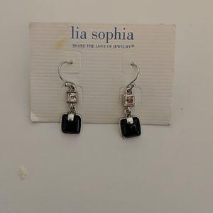 Lia Sophia Black Dangle Earring NWT